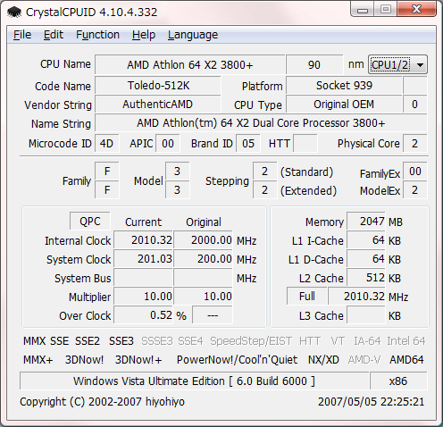 CrystalCPUID (64 bit) screenshot
